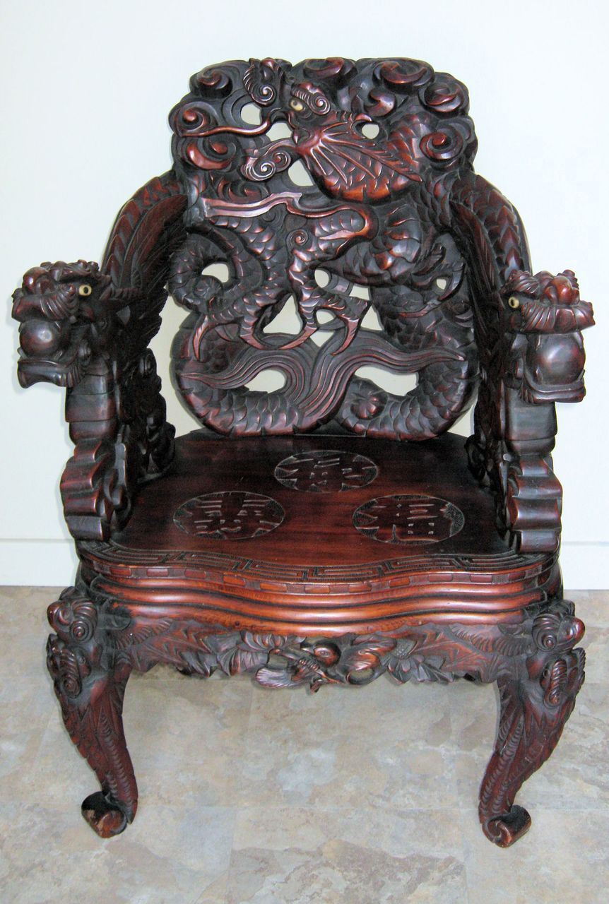 Japanese Meiji Period Art Nouveau Carved Dragon Chair : Dynasty Collections  & Antiques | Ruby Lane - Japanese Meiji Period Art Nouveau Carved Dragon Chair : Dynasty