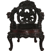 Japanese Art Nouveau Wood Dragon Chair