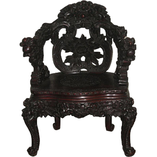 Japanese Art Nouveau Wood Dragon Chair