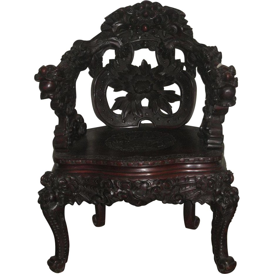 Japanese Art Nouveau Wood Dragon Chair From