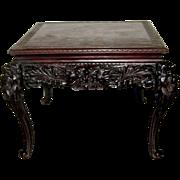 """Antique Japanese Art Nouveau Carved Wood """"Dragon"""" Table"""