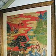 """Chinese Painted Scroll with Immortals and """"Mother of the West"""""""