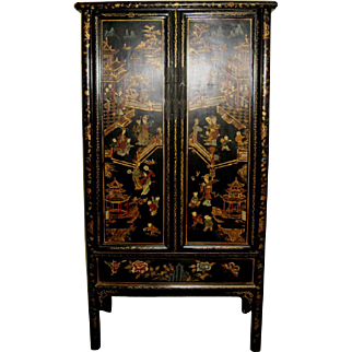 Antique Chinese Lacquered Two-Door Cabinet