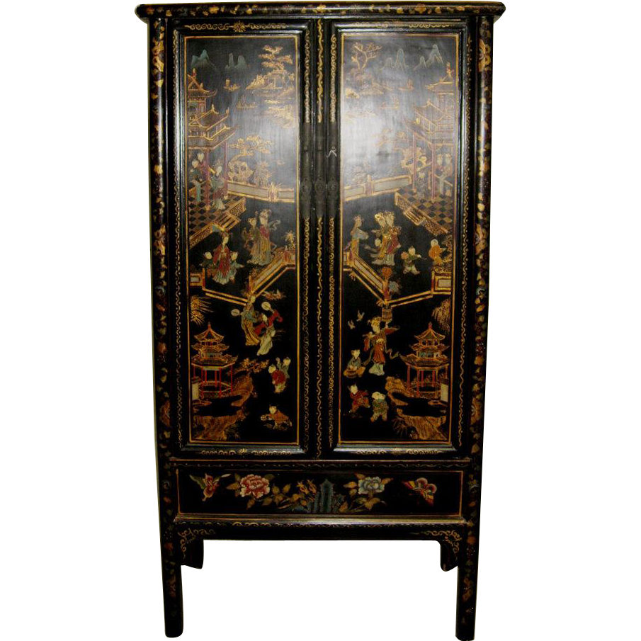 Antique chinese lacquered two door cabinet from for Antique asian cabinet
