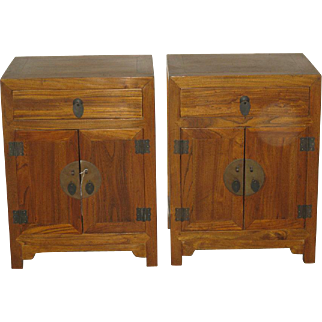 Pair Small Chinese Elmwood Cabinets