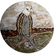 Superb Inlaid Round Onyx Table Top of an Eagle