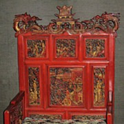 Magnificent Chinese Red-Lacquered High-Backed Chair
