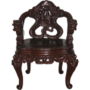 Chinese Carved Rosewood Dragon and Phoenix Chair