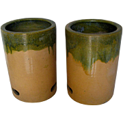 Pair of Japanese Hibachi wih Green Dripped Glaze