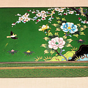 Japanese Taisho Green Cloisonné Box with Floral Motif