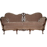Early 20th Century Elegant Sofa in Light-Brown Fabric