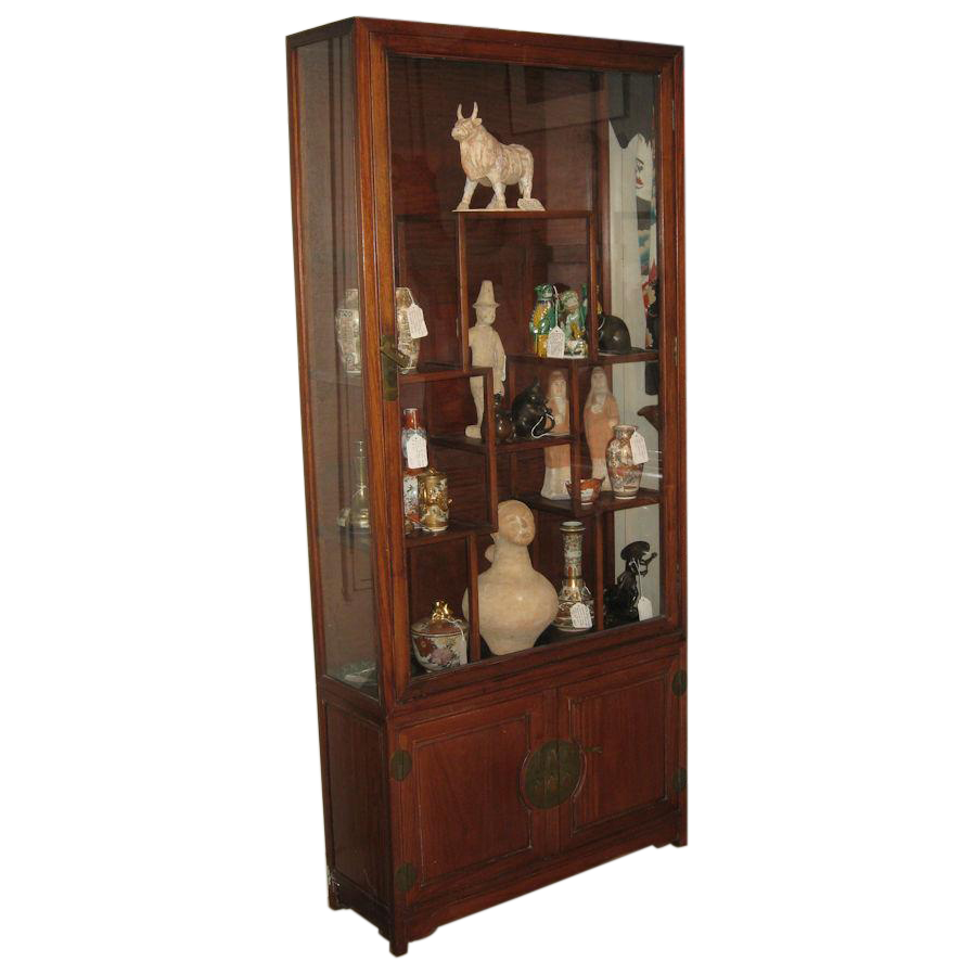 vintage chinese yellow rosewood vitrine cabinet from dynastycollections on ruby lane. Black Bedroom Furniture Sets. Home Design Ideas