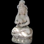 Chinese Carved White Marble Bodhisattva