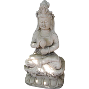 Chinese Carved White Marble Bodhisattva