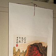 Chinese Painted Scroll with Fall Scene