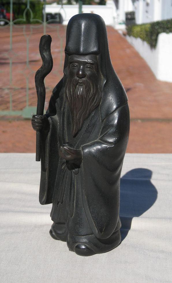 Late Meiji Japanese Bronze Jurojin God of Wisdom and Longevity