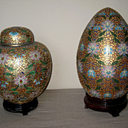 Chinese Old Cloisonné Covered Jar & Egg