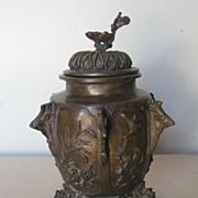 Japanese Bronze Covered Tripod Jar