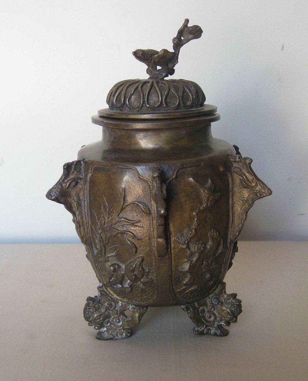 Japanese Bronze Covered Tripod Jar