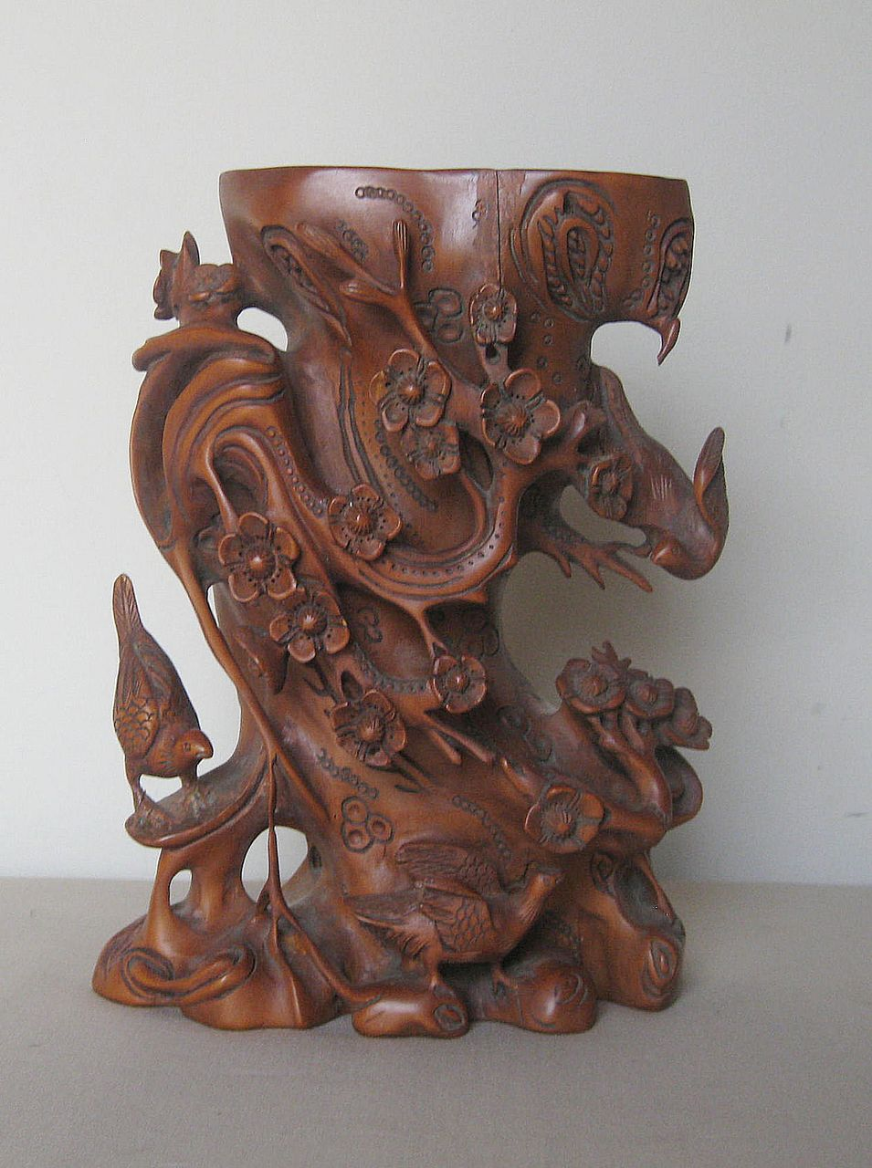 Chinese Carved Wood Floral Bird Vase From