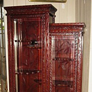 Japanese Art Nouveau Carved Rosewood Curio Cabinet