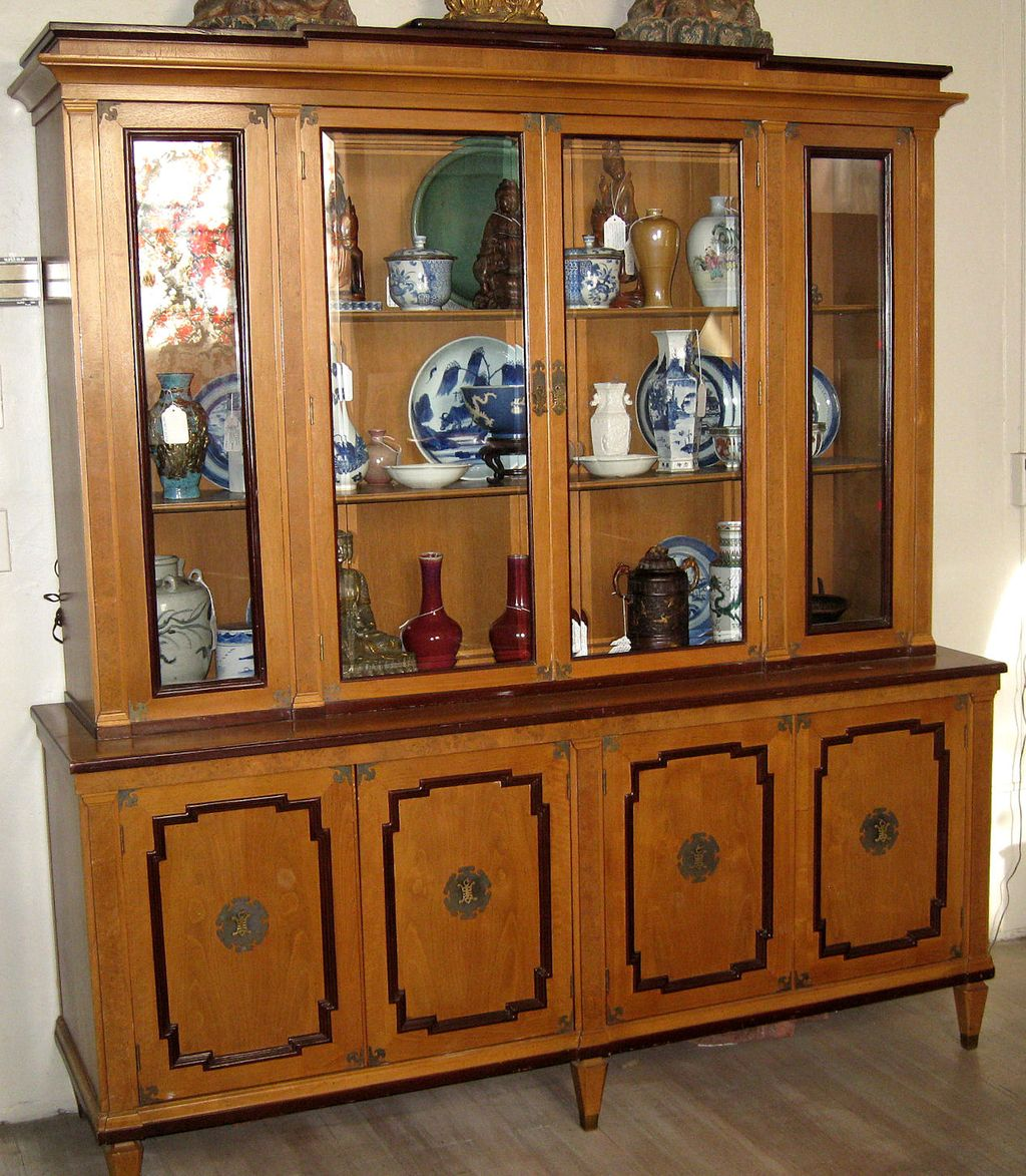 Old Large Maple Wood Display Cabinet from dynastycollections on ...