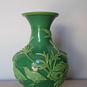 Chinese Carved Green Glass Vase