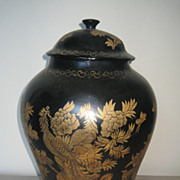 Chinese Blue & Gilt Lacquer Jar