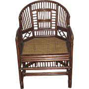 Chinese Bamboo Armchair with Cane Seat