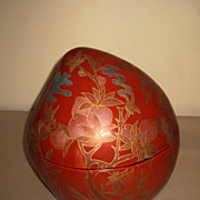 Chinese Red Lacquer Peach Box