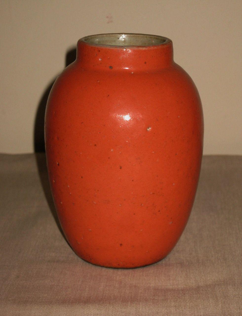 Chinese stoneware coral orange glazed vase from for Orange vase