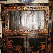 19th Century Chinese Black and Gold Lacquer Cabinet