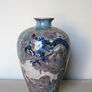 Chinese Ceramic Flambé Dragon Vase
