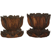 Pair Carved Wood Lotus Pods