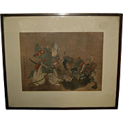 Vintage Japanese Painting of a Daimyo with a  Warrior