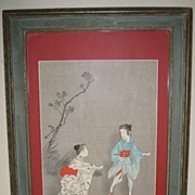 "Japanese Woodblock Print ""of Children"""