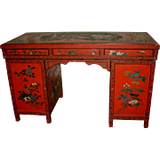 Vintage Chinese Red lacquer Desk with Painted Palace Scene