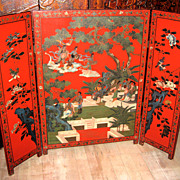 Chinese Three-Panel Red Lacquer Wood Screen
