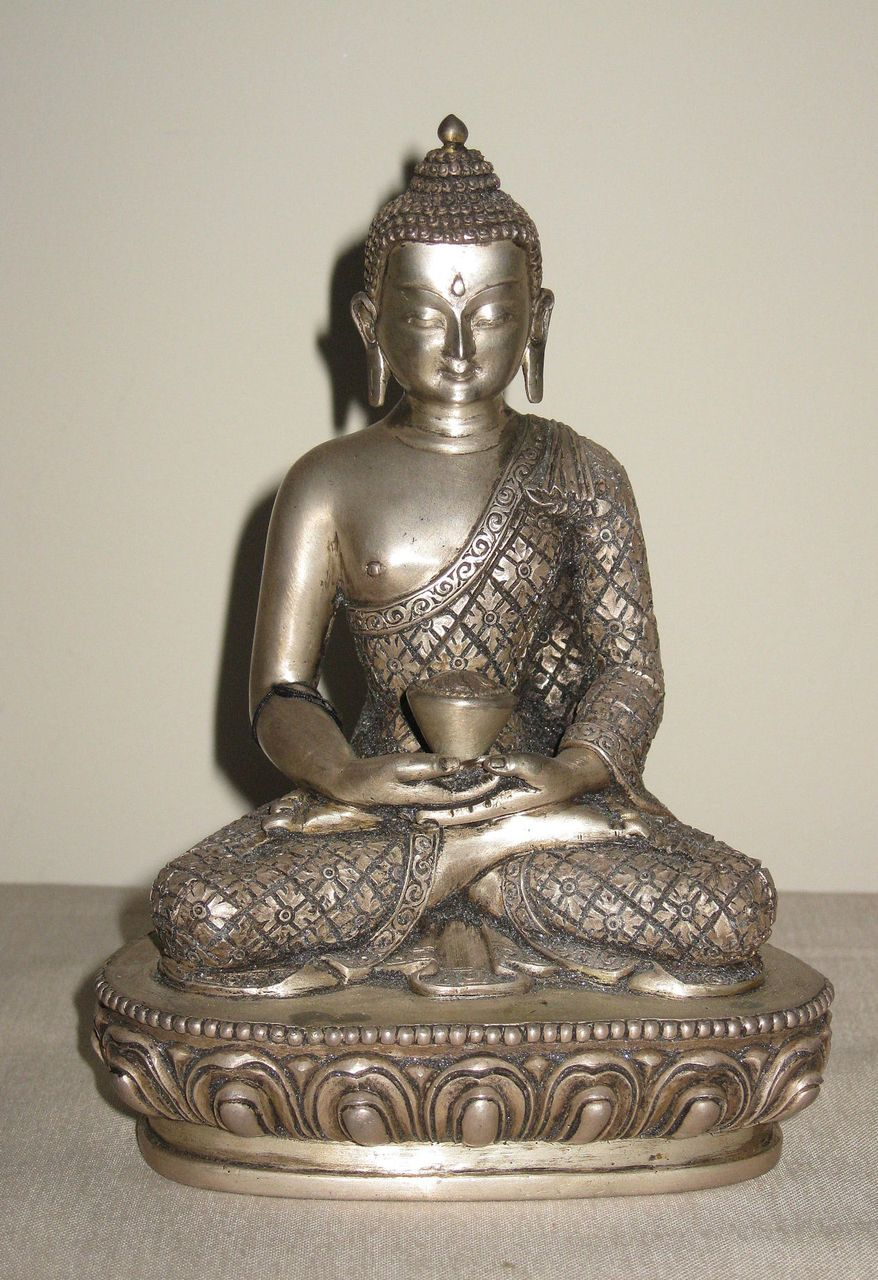 superb nepalese silver seated buddha from