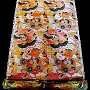 Magnificent Japanese Orange & Gilt Obi Fabric with Cranes