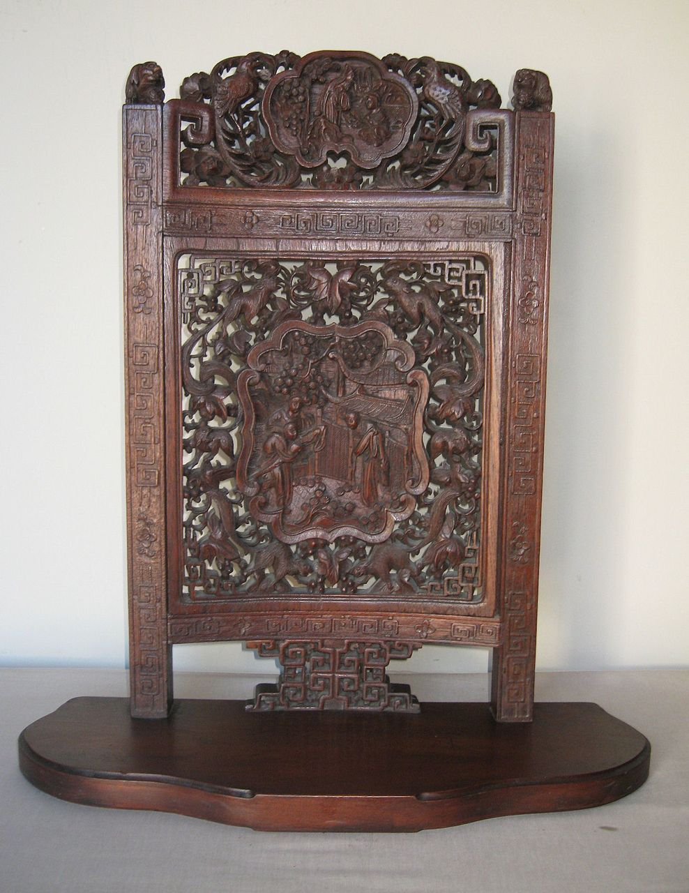 Magnificent chinese carved wood table screen from