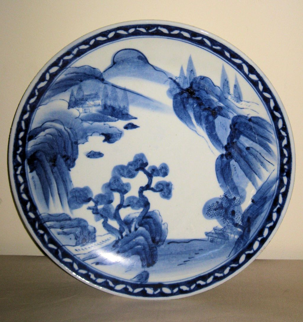 Japanese Porcelain Blue u0026 White Plate  Dynasty Collections u0026 Antiques | Ruby Lane & Japanese Porcelain Blue u0026 White Plate : Dynasty Collections ...