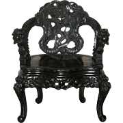 Antique Japanese Carved Wood Chair