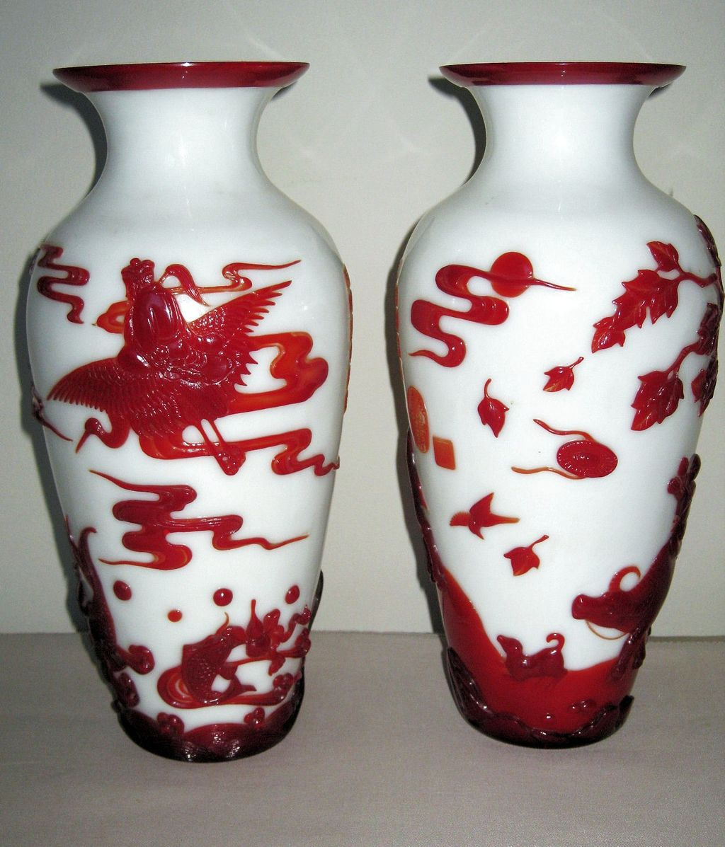 Exquisite Pair Of Chinese Red Overlay Peking Glass Vases From Dynastycollections On Ruby Lane
