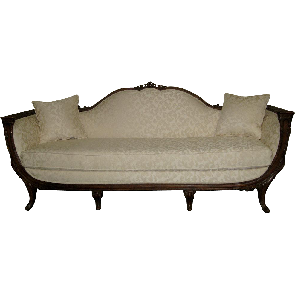American Empire Off White Upholstered Sofa From