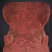Pair of Exquisite Antique Dark-Red Wingback Chairs