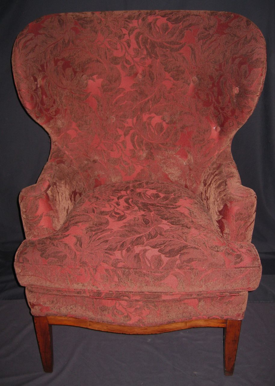 Antique wingback chairs - Pair Of Exquisite Antique Dark Red Wingback Chairs