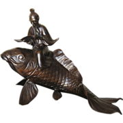 Large Meiji Fish with Scholar Sculpture