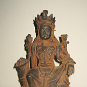 Chinese Iron Buddhist Manjushri Seated on a Lion