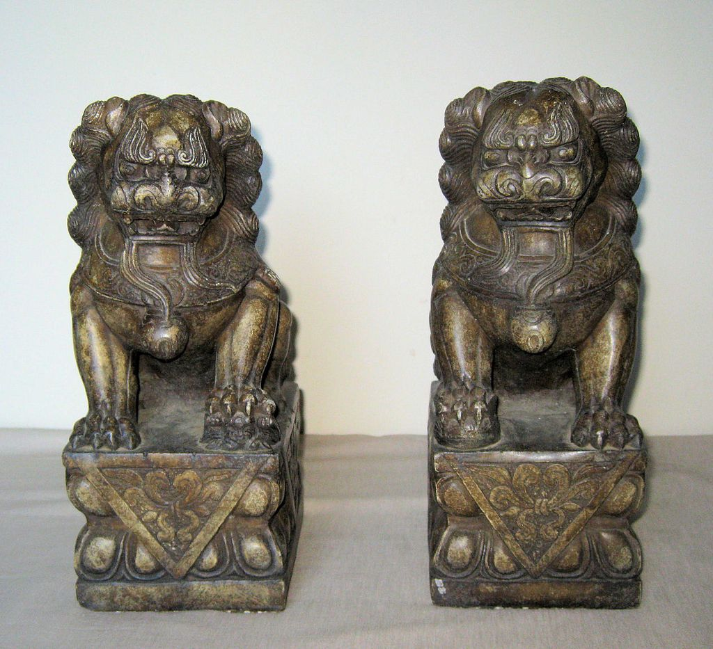Pair of chinese carved stone fu lions from